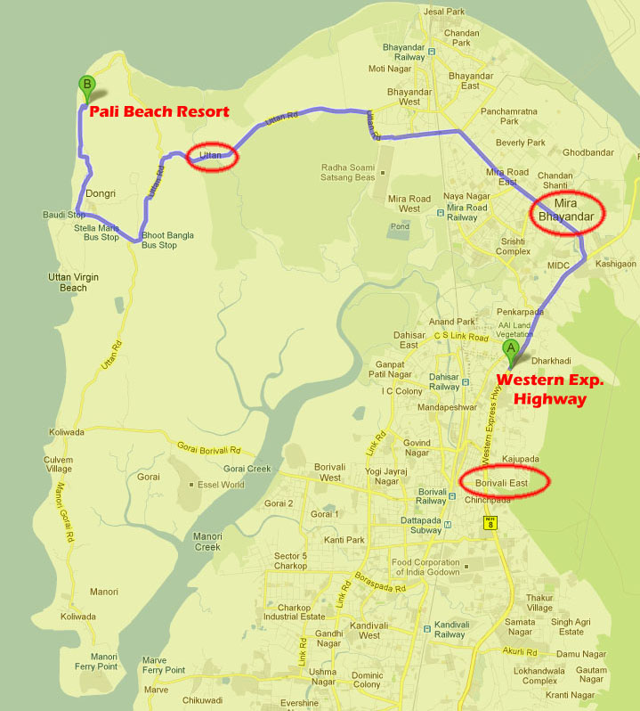 Mumbai hotels a resort in mumbai pali beach resort map location directions gumiabroncs Images